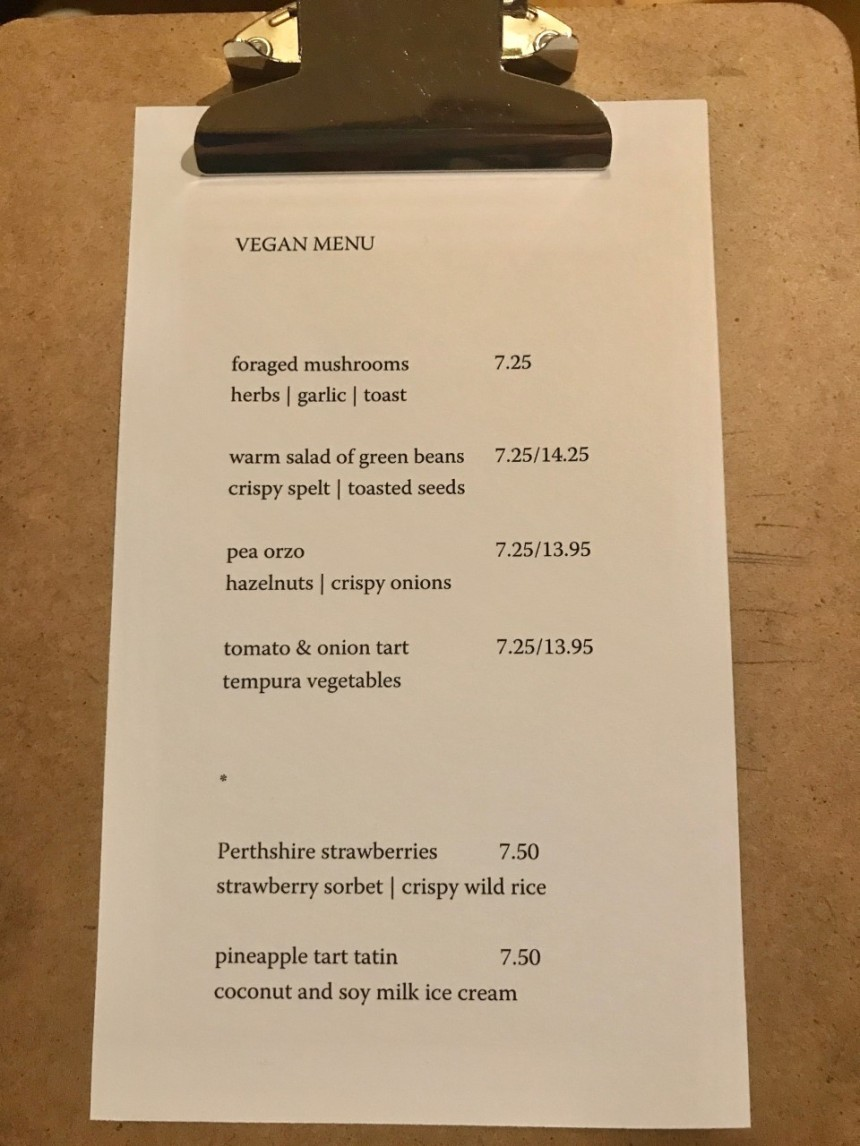 The Lovat vegan menu